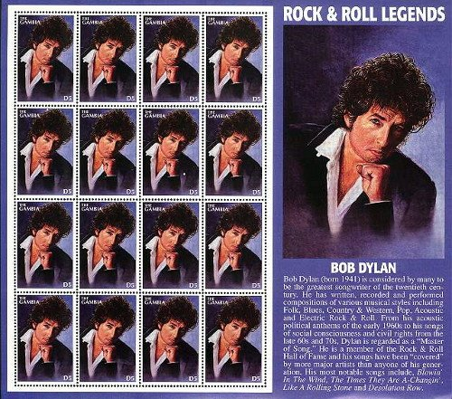 Bob Dylan 'Rock and Roll Legends' stamp issued by Gambia