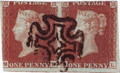 Pair of 1d Reds from Penny Black plate 5