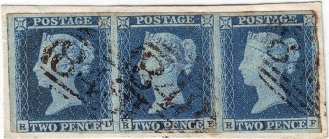 Strip of 2d Blues on piece from Plate 4