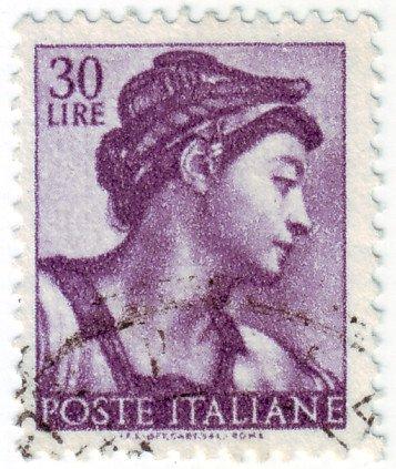 1961 Italian postage stamp - Michelangelo's Sibilla Eritrea