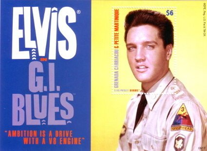 Elvis in G.I. Blues - Grenada Carriacou & Petite Martinique postage stamp
