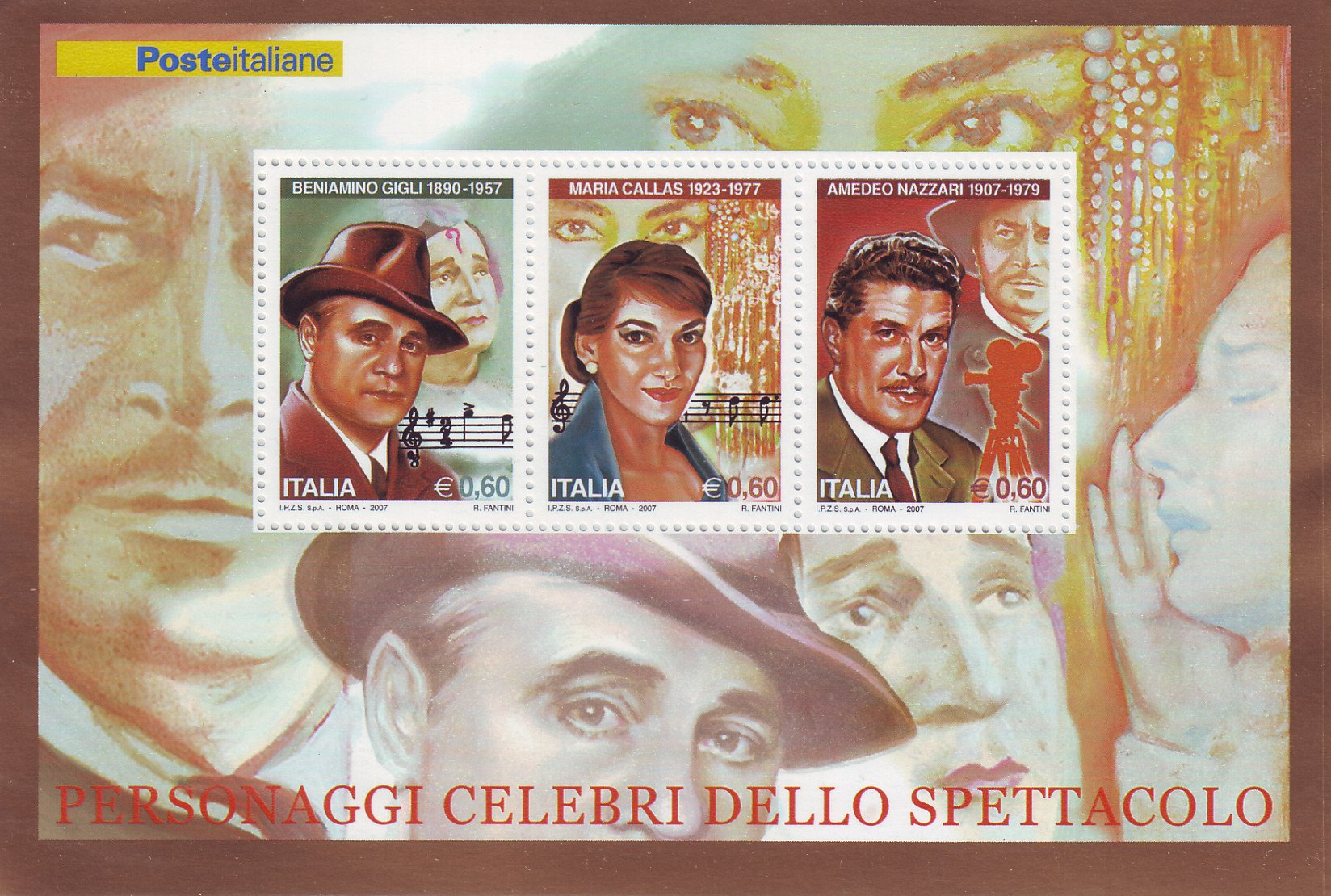 Italian Souvenir Sheet - Callas-Gigli-Nazzari