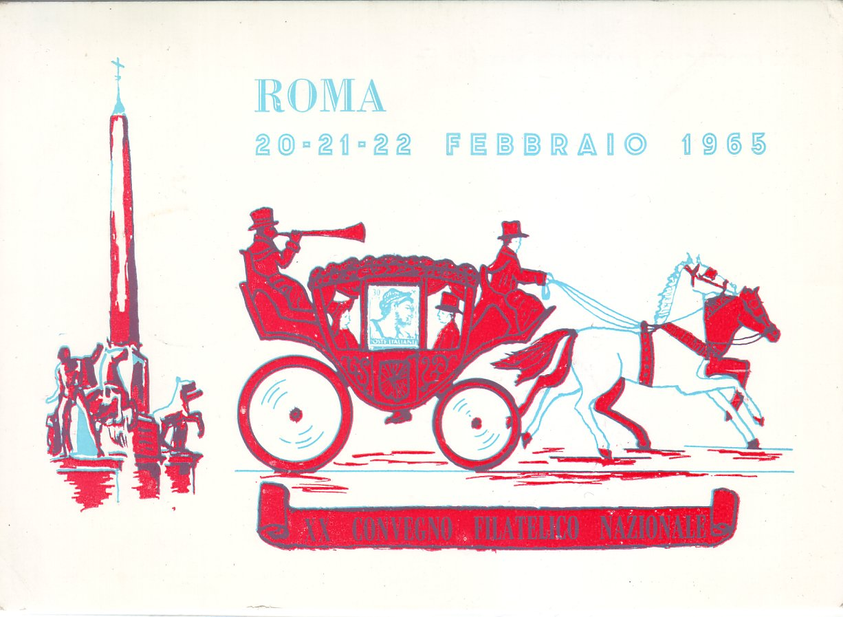 Vintage 1965 Postcard issued at Rome Stamp Fair